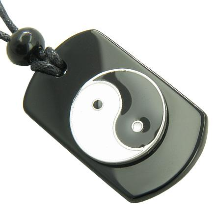 Black Onyx Ying Yang Spiritual Talisman Gem Crystal Tag Necklace