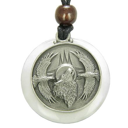 Amulet Howling Wolf Eagles Magic Medallion Circle White Jade Pendant Necklace