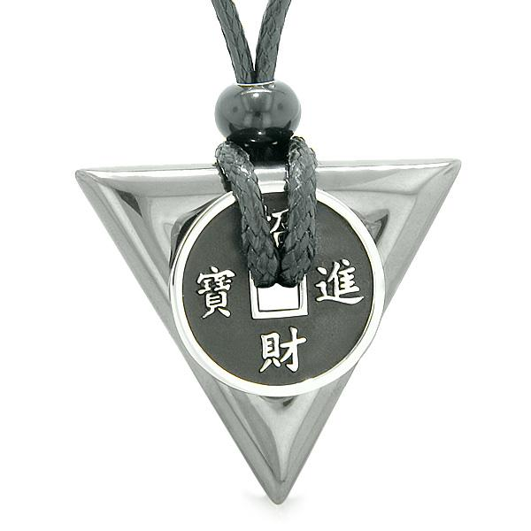Amulet Lucky Coin Charm Triangle Pyramid Powers Hematite Spiritual Good Luck Pendant Necklace