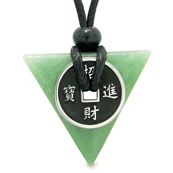 Amulet Lucky Coin Charm Triangle Pyramid Powers Green Quartz Spiritual Good Luck Pendant Necklace