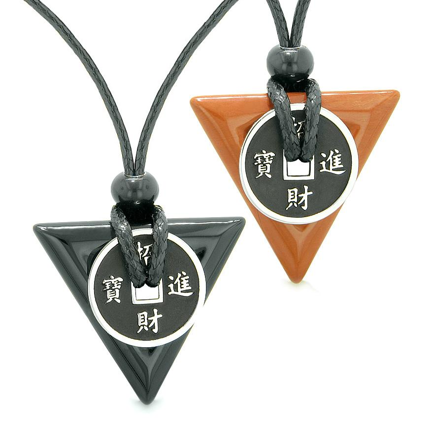 Amulets Lucky Coin Triangle Magic Powers Black Agate Red Jasper Love Couples Best Friends Necklaces