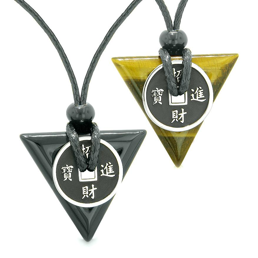 Amulets Lucky Coin Triangle Magic Powers Black Agate Tiger Eye Love Couples Best Friends Necklaces