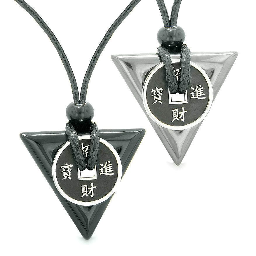 Amulets Lucky Coin Triangle Magic Powers Black Agate Hematite Love Couples Best Friends Necklaces