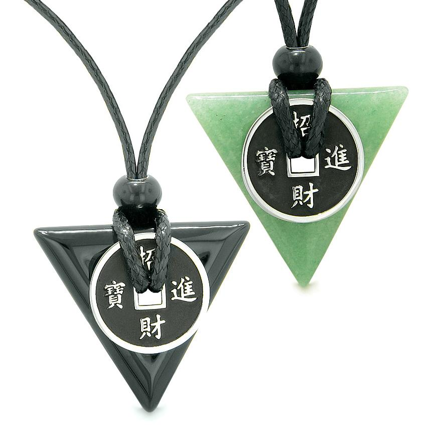 Amulets Lucky Coin Triangle Magic Powers Agate Green Quartz Love Couples Best Friends Necklaces