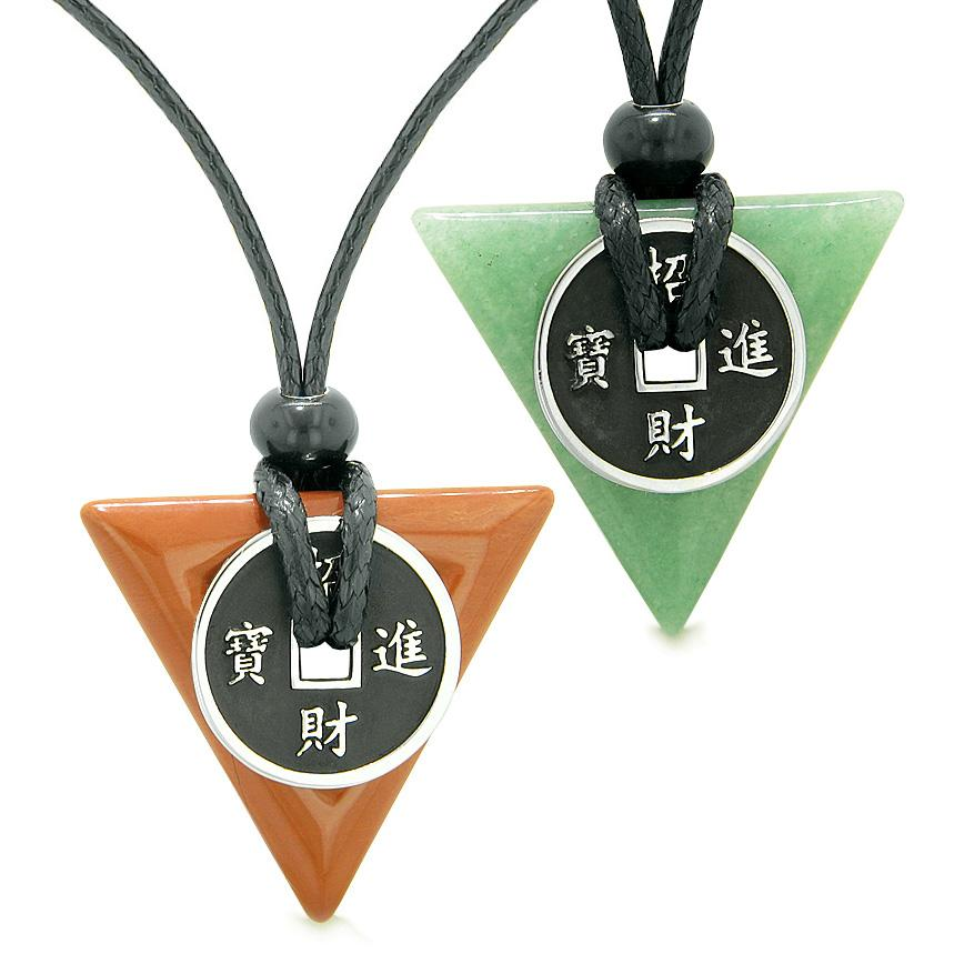 Amulets Lucky Coin Triangle Magic Power Red Jasper Green Quartz Love Couples Best Friends Necklaces