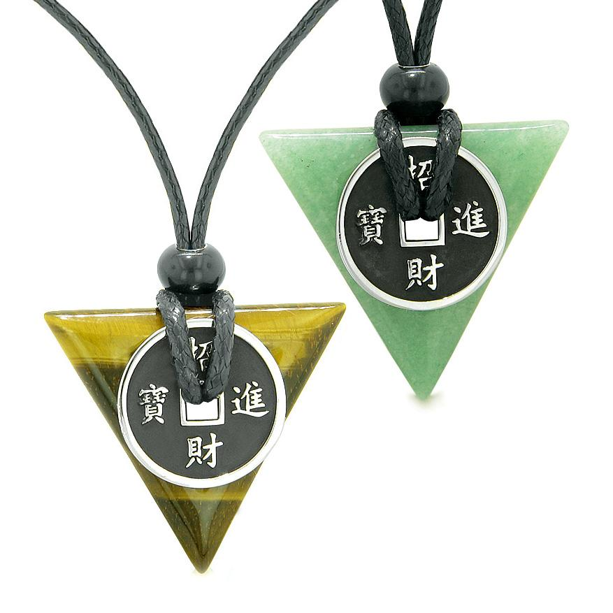 Amulets Lucky Coin Triangle Magic Powers Tiger Eye Green Quartz Love Couples Best Friends Necklaces