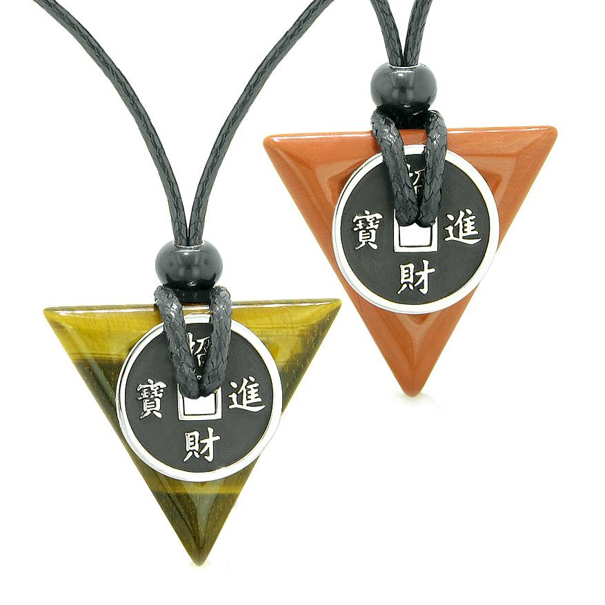 Amulets Lucky Coin Triangle Magic Powers Tiger Eye Red Jasper Love Couples Best Friends Necklaces