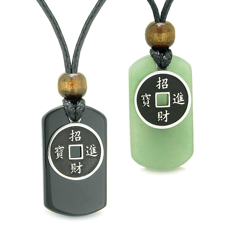 Amulets Lucky Coin Charms Black Agate Green Aventurine Love Couples or Best Friends Necklaces