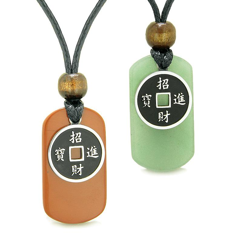 Amulets Lucky Coin Charms Green Quartz Red Jasper Love Couples or Best Friends Adjustable Necklaces