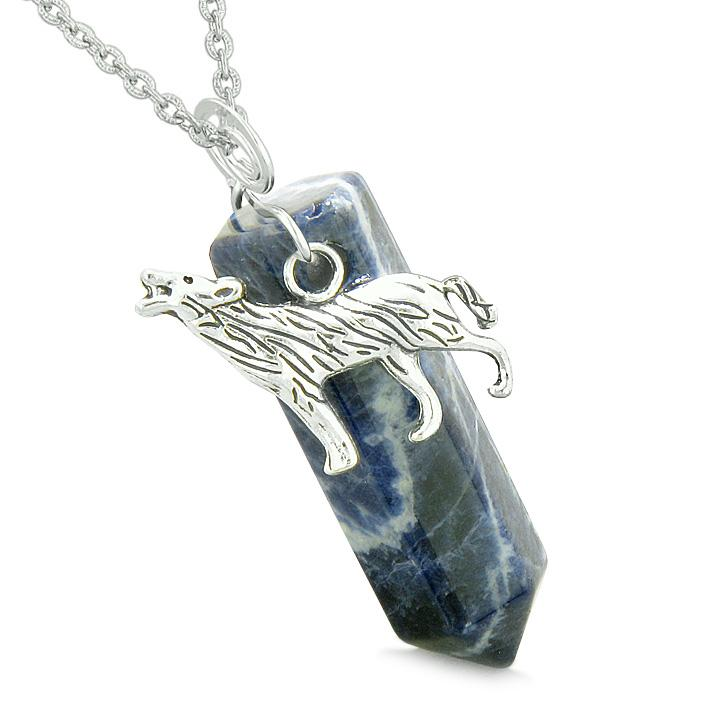 Courage Howling Wolf Protection Energy Amulet Lucky Crystal Point Sodalite Pendant 18 Inch Necklace
