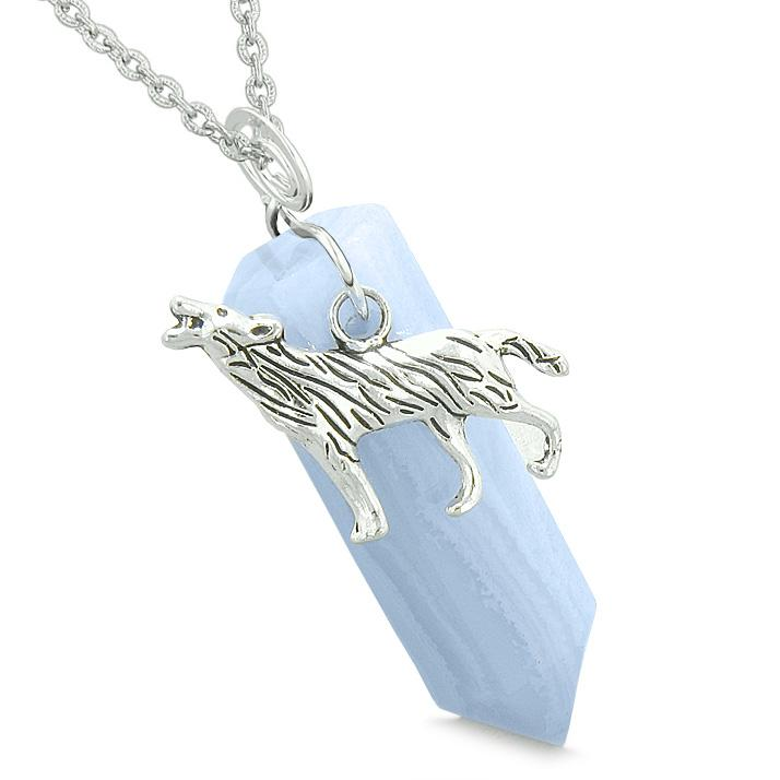 Courage Howling Wolf Protection Amulet Lucky Crystal Point Blue Lage Agate Pendant 22 Inch Necklace