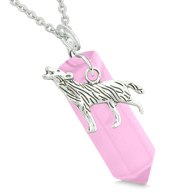 Courage Howling Wolf Magic Amulet Lucky Crystal Point Pink Simulated Cats Eye Pendant Necklace