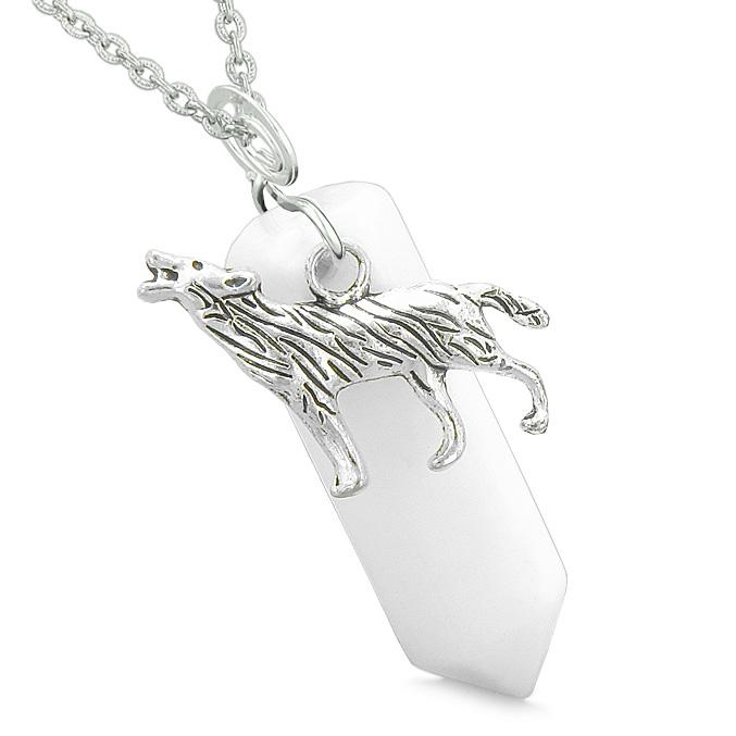 Courage Howling Wolf Protection Energy Amulet Lucky Crystal Point White Quartz Pendant Necklace