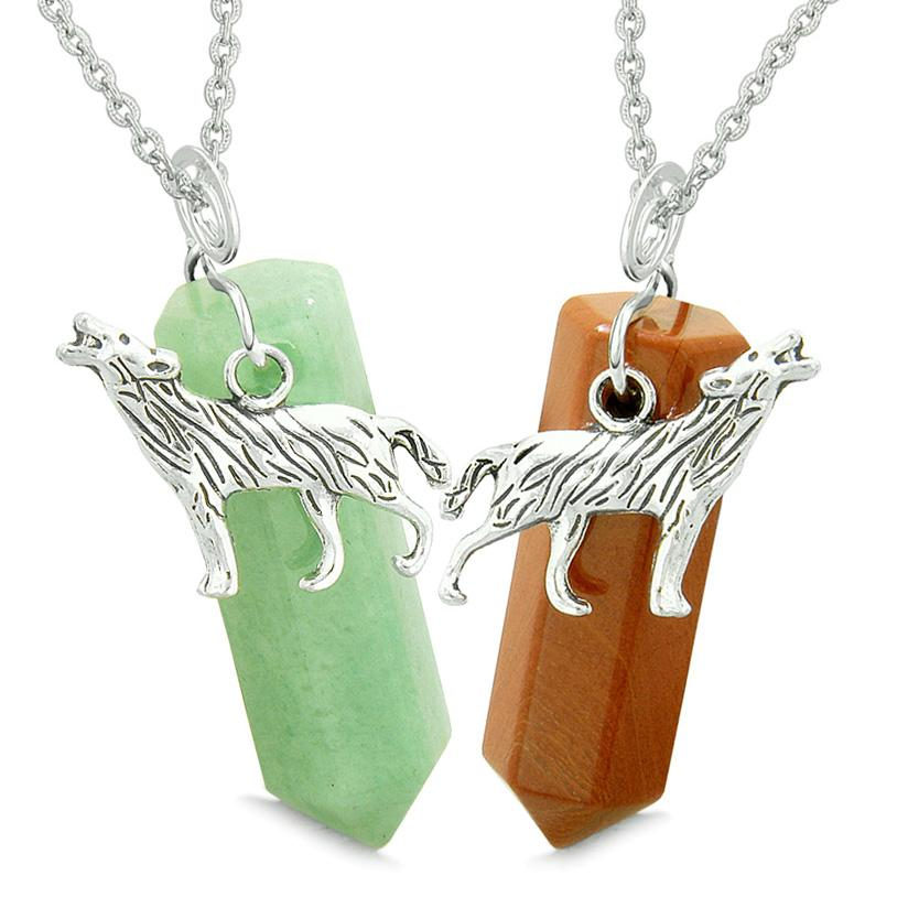 Howling Wolf Courage Amulets Love Couples or Best Friends Set Green Quartz and Red Jasper Necklaces