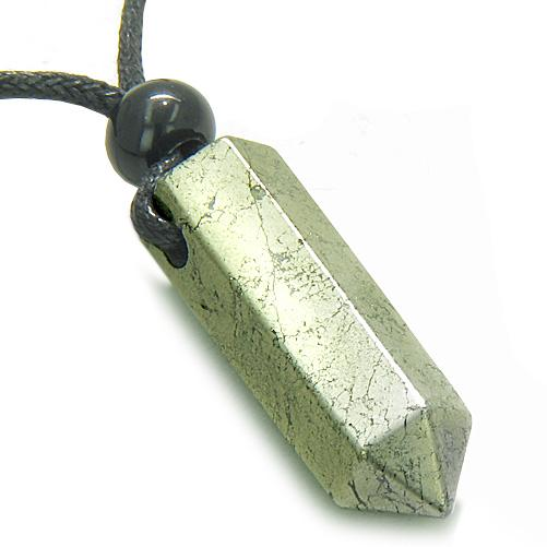 Amulet Golden Pyrite Irom Crystal Point Protection Magic Powers Pendant Necklace