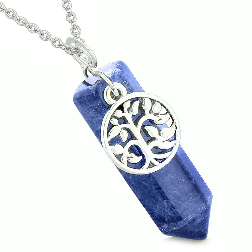 Magical Tree of Life Energy Amulet Lucky Crystal Point Sodalite Pendant 22 Inch Necklace
