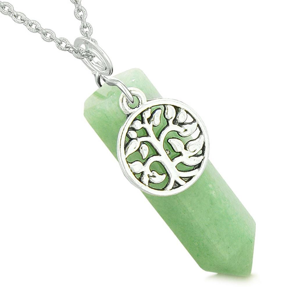 Magical Tree of Life Energy Amulet Lucky Crystal Point Green Quartz Pendant 18 Inch Necklace