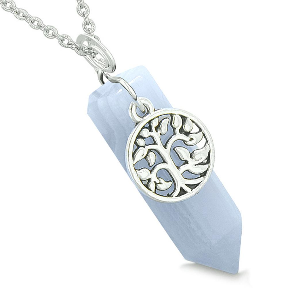 Magical Tree of Life Energy Amulet Lucky Crystal Point Blue Lace Agate Pendant 22 Inch Necklace