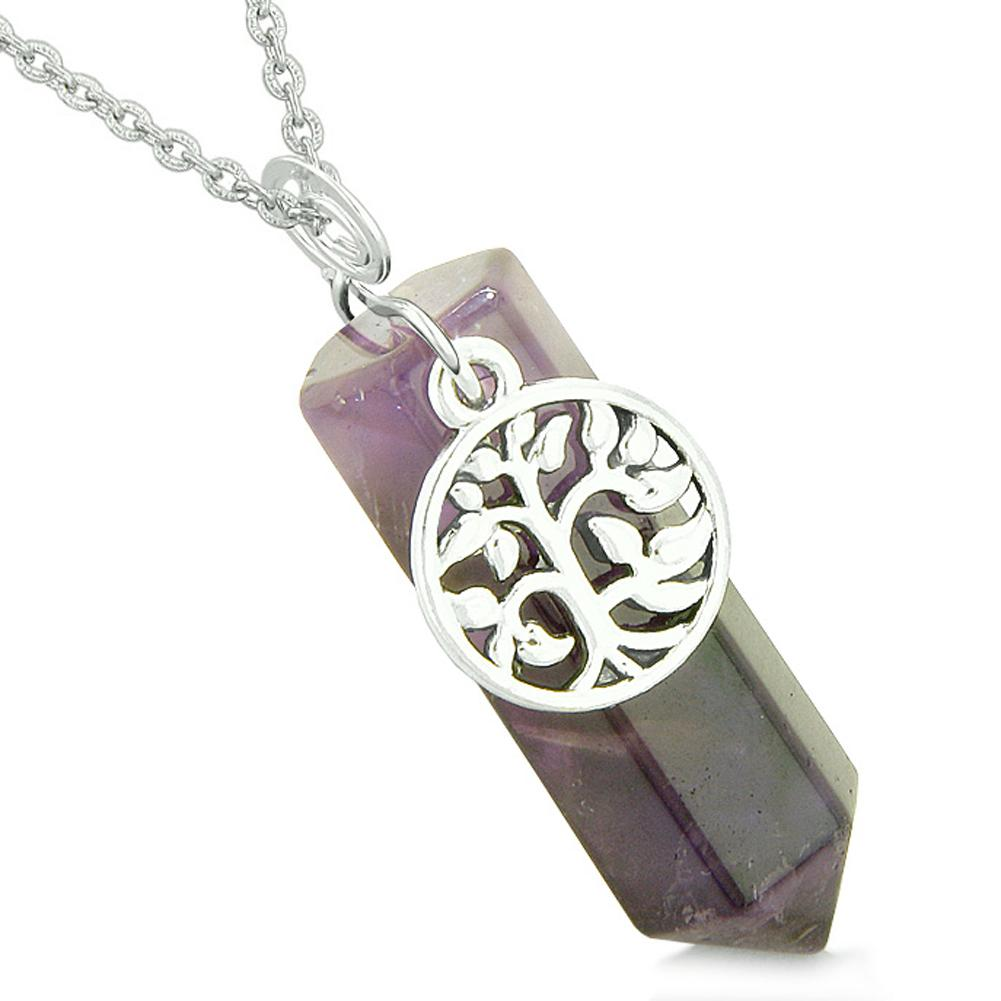 Magical Tree of Life Energy Amulet Lucky Crystal Point Purple Quartz Pendant 18 Inch Necklace