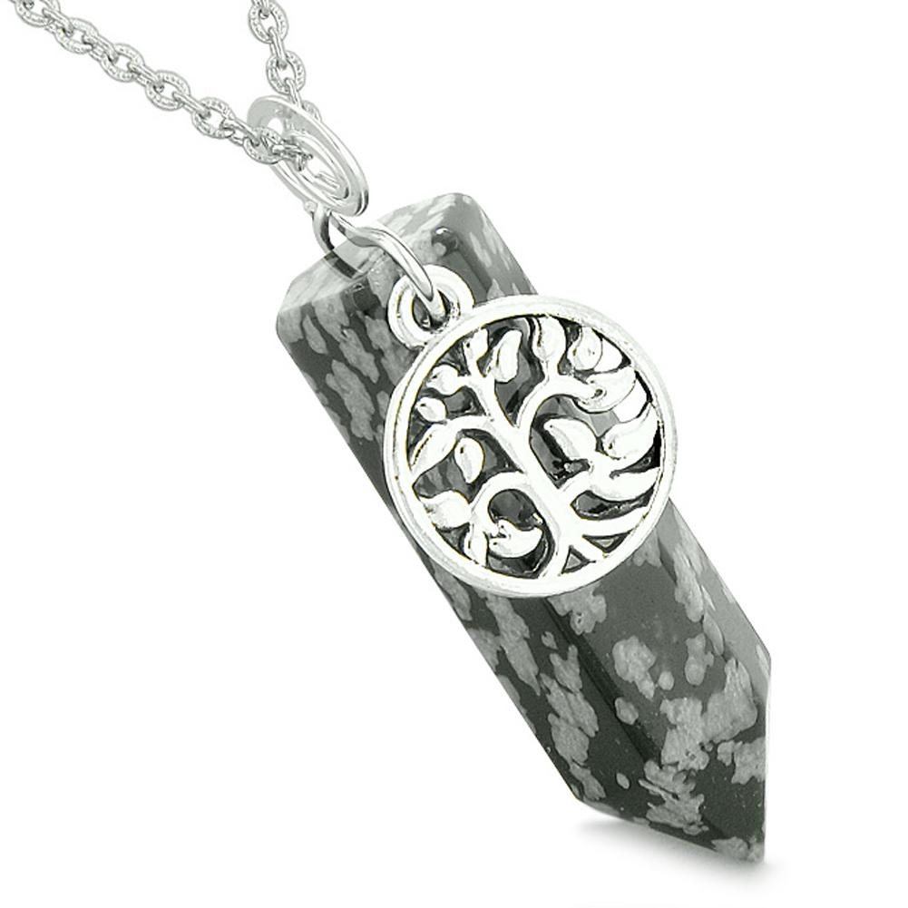 Magical Tree of Life Energy Amulet Lucky Crystal Point Snowflake Obsidian Pendant 22 Inch Necklace