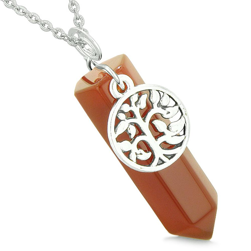 Magical Tree of Life Energy Amulet Lucky Crystal Point Carnelian Pendant 18 Inch Necklace