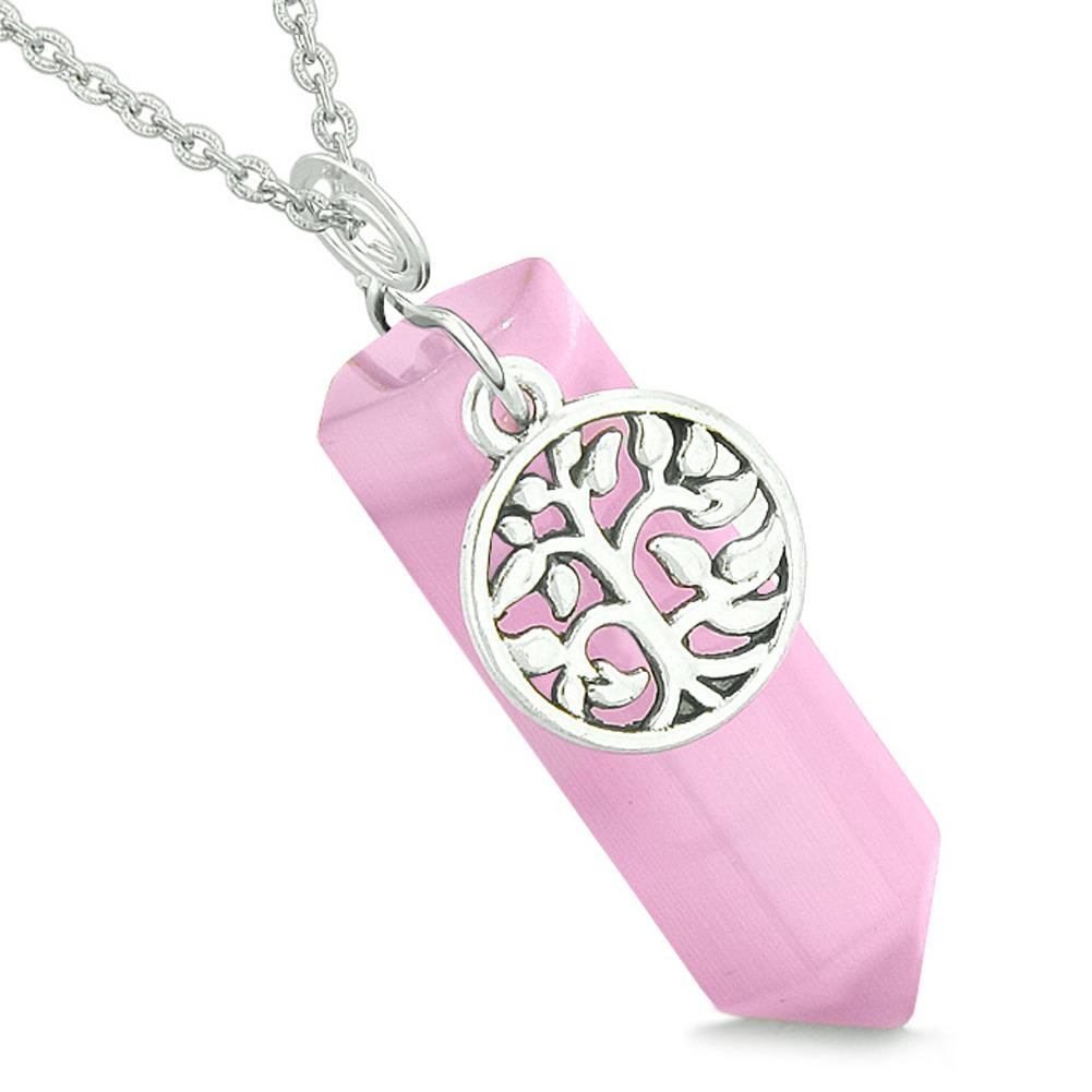 Magical Tree of Life Energy Amulet Lucky Crystal Point Pink Simulated Cats Eye Pendant 22 Inch Necklace
