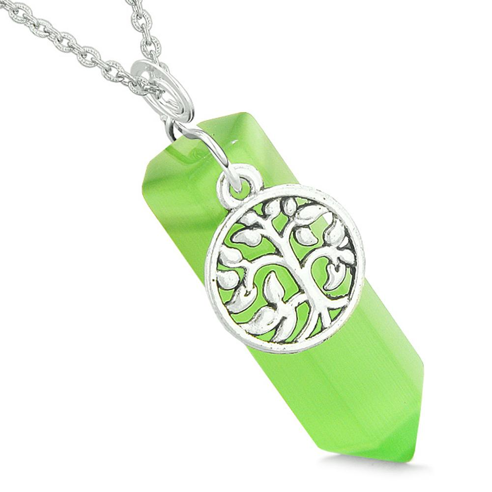 Magical Tree of Life Energy Amulet Lucky Crystal Point Green Simulated Cats Eye Pendant 18 Inch Necklace