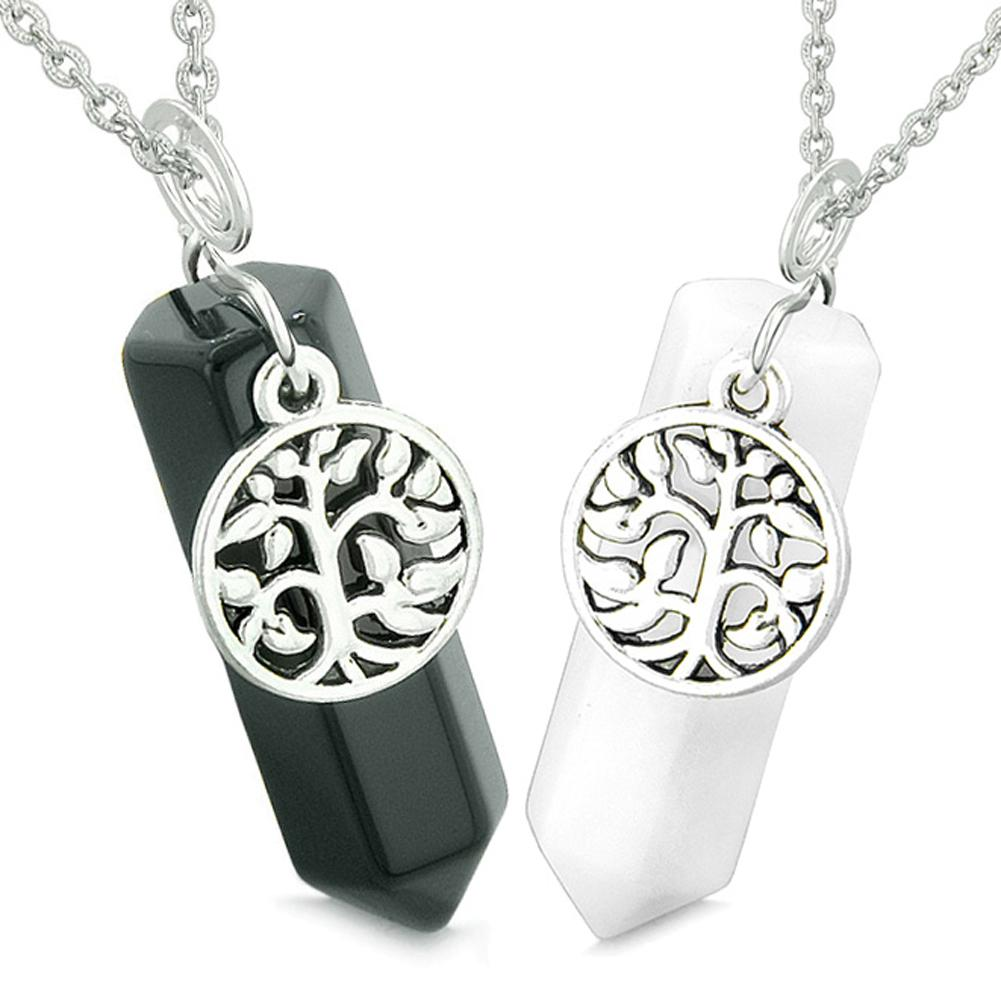 Tree of Life Magic Energy Love Couples or Best Friends Set Black Agate White Quartz Amulet Necklaces