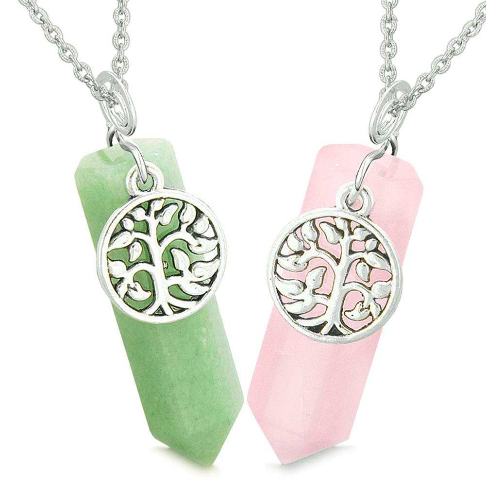 Tree of Life Magic Energy Love Couples or Best Friends Set Green and Rose Quartz Amulet Necklaces