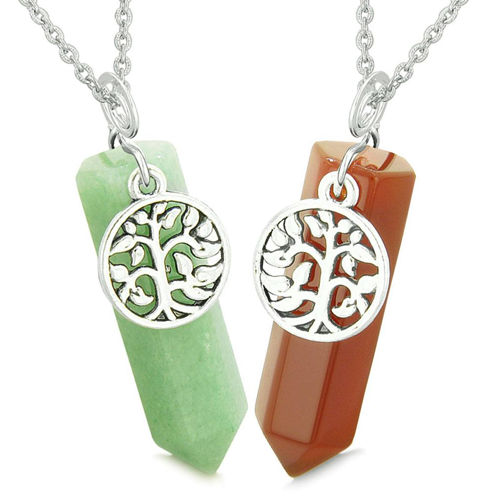Tree of Life Magic Energy Love Couples or Best Friends Set Carnelian and Green Quartz Amulet Necklaces
