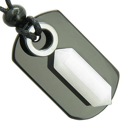 Exclamation Triple Lucky Amulet Crystal Point Tag Onyx Hematite White Jade Pendant Necklace