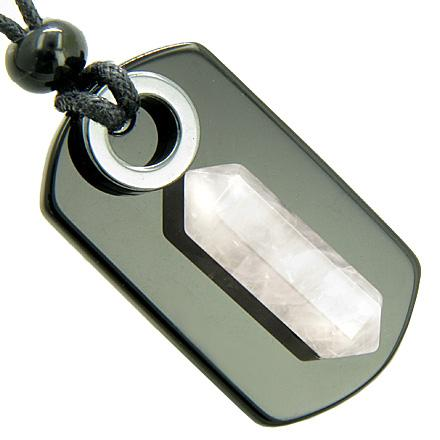 Exclamation Triple Lucky Amulet Crystal Point Tag Onyx Hematite Rose Quartz Pendant Necklace