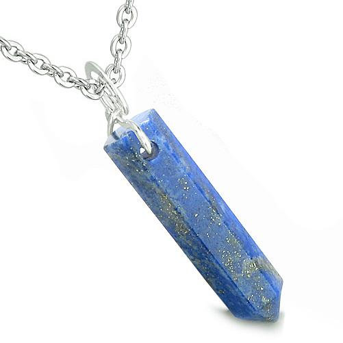 Lucky Crystal Point Win Lapis Lazuli Healing Magic Powers Infinity Style Bail Pendant Necklace