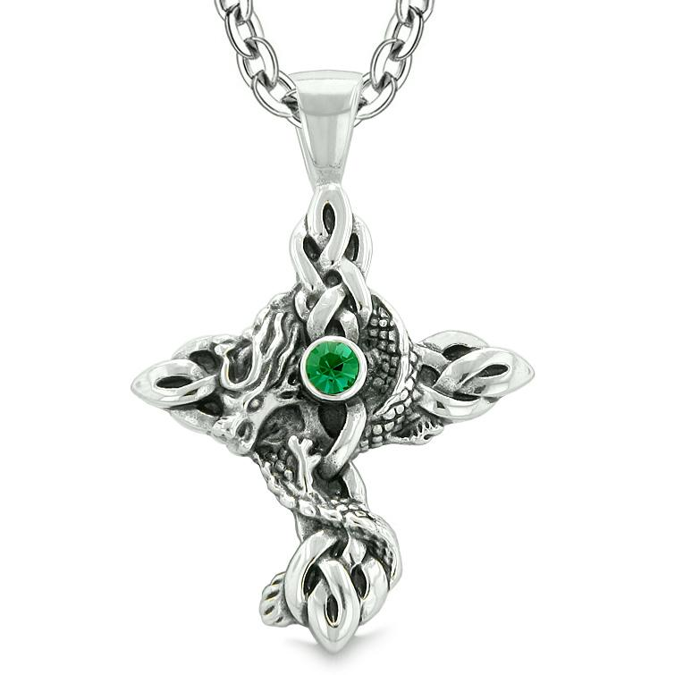 Fire Dragon Protection Celtic Knots Cross Power Magic Amulet Royal Green Crystal Pendant Necklace