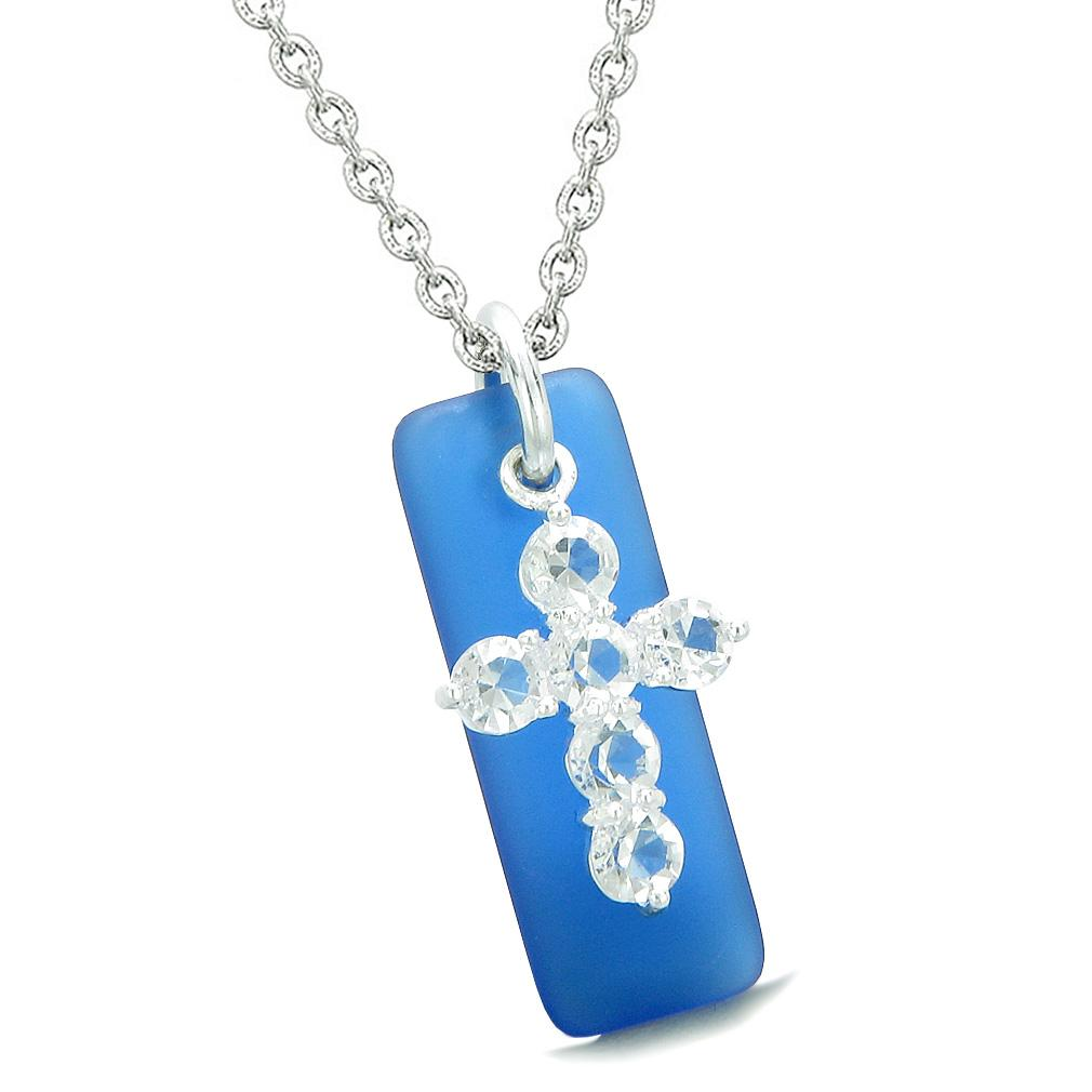 Sea Glass Ocean Blue Tag Adorable Crystal Cross Protection Positive Powers Amulet 22 Inch Necklace