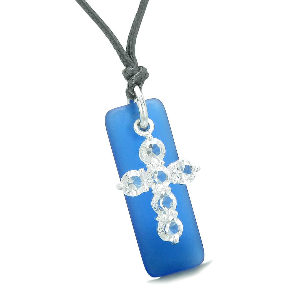 Sea Glass Ocean Blue Tag Adorable Crystal Cross Protection Positive Powers Amulet Adjustable Necklace