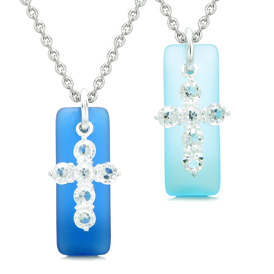 Sea Glass Ocean and Sky Blue Tags Crystal Cross Love Couples BFF Set Protection Amulet Necklaces