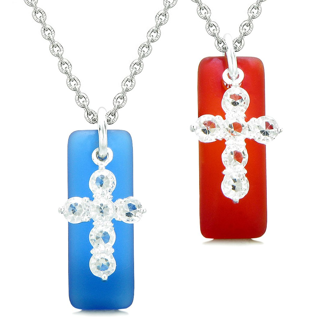 Sea Glass Ocean Blue and Royal Red Tags Crystal Cross Love Couples BFF Set Protection Amulet Necklaces