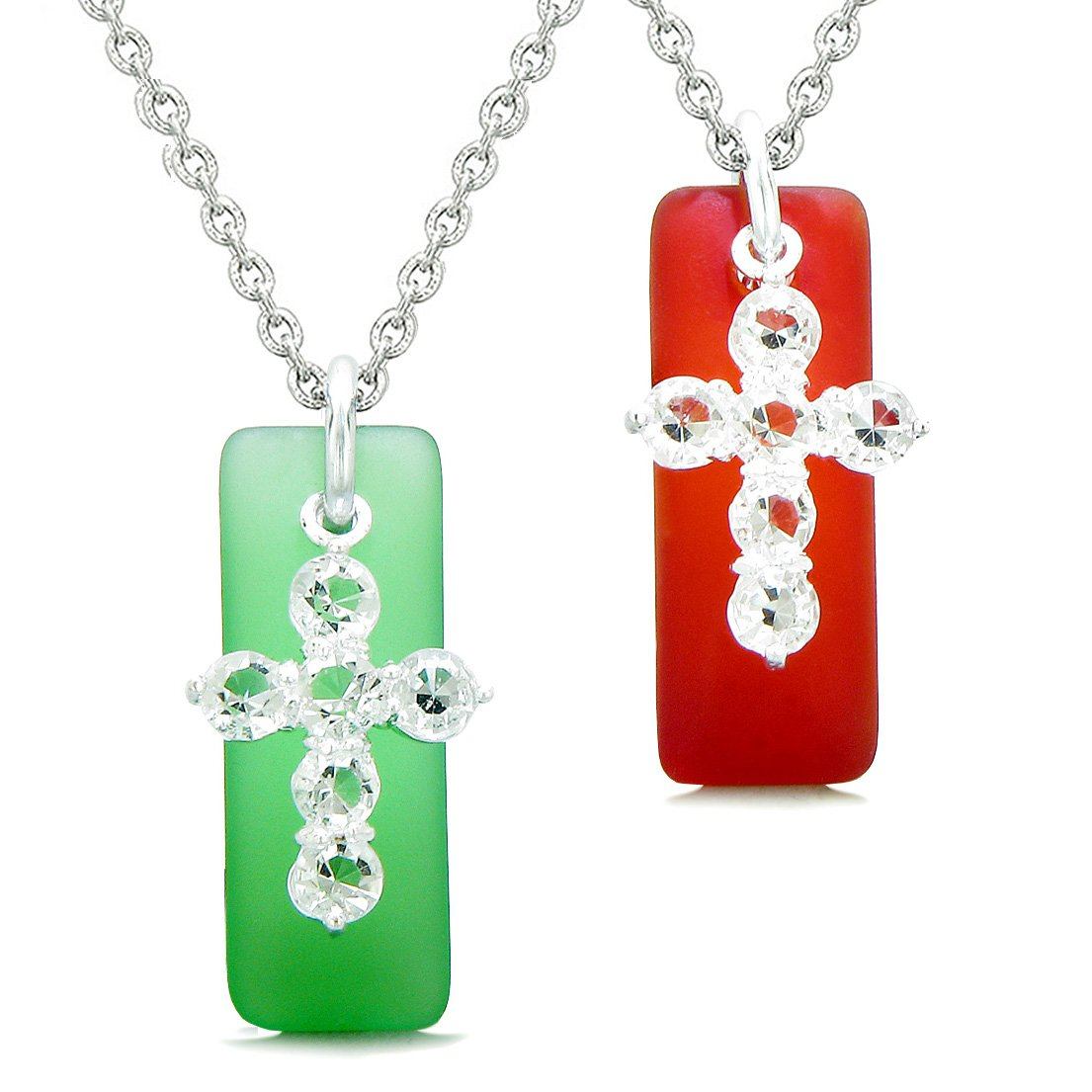 Sea Glass Ocean Green and Royal Red Tags Crystal Cross Love Couples BFF Set Protection Amulet Necklaces