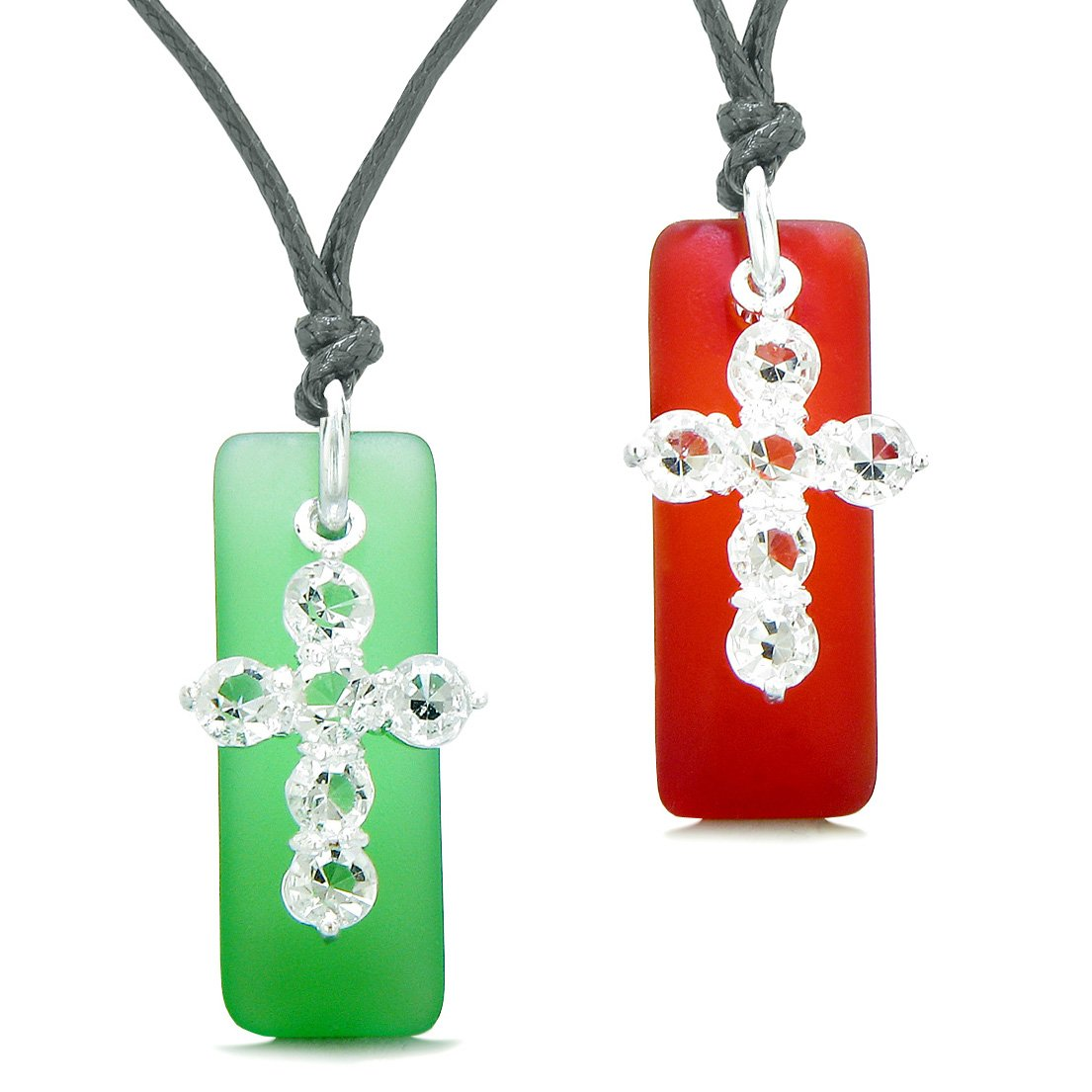 Sea Glass Royal Red and Ocean Green Tags Crystal Cross Love Couples BFF Set Protection Amulet Necklaces