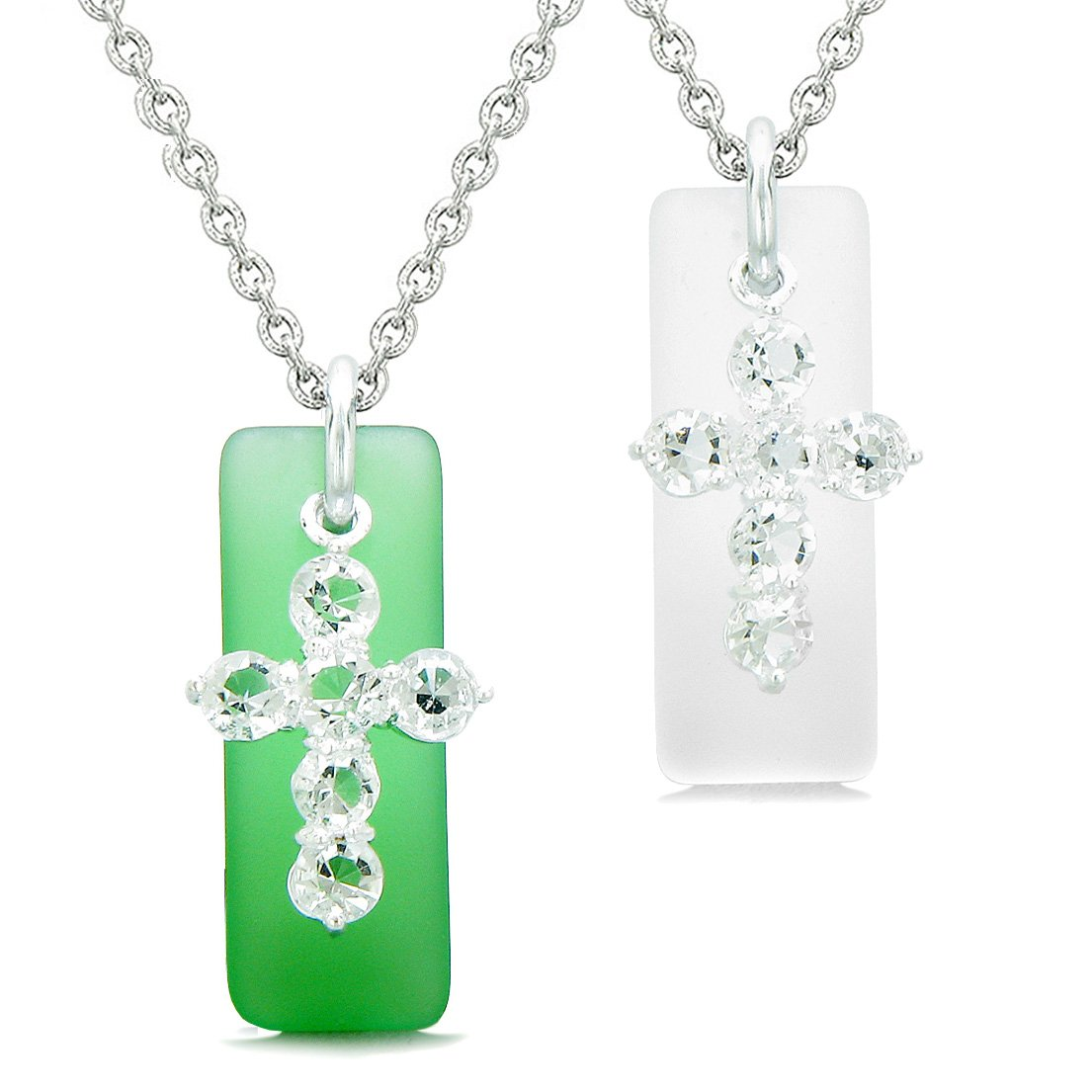 Sea Glass Ocean Green and Mist White Tags Crystal Cross Love Couples BFF Set Protection Amulet Necklaces