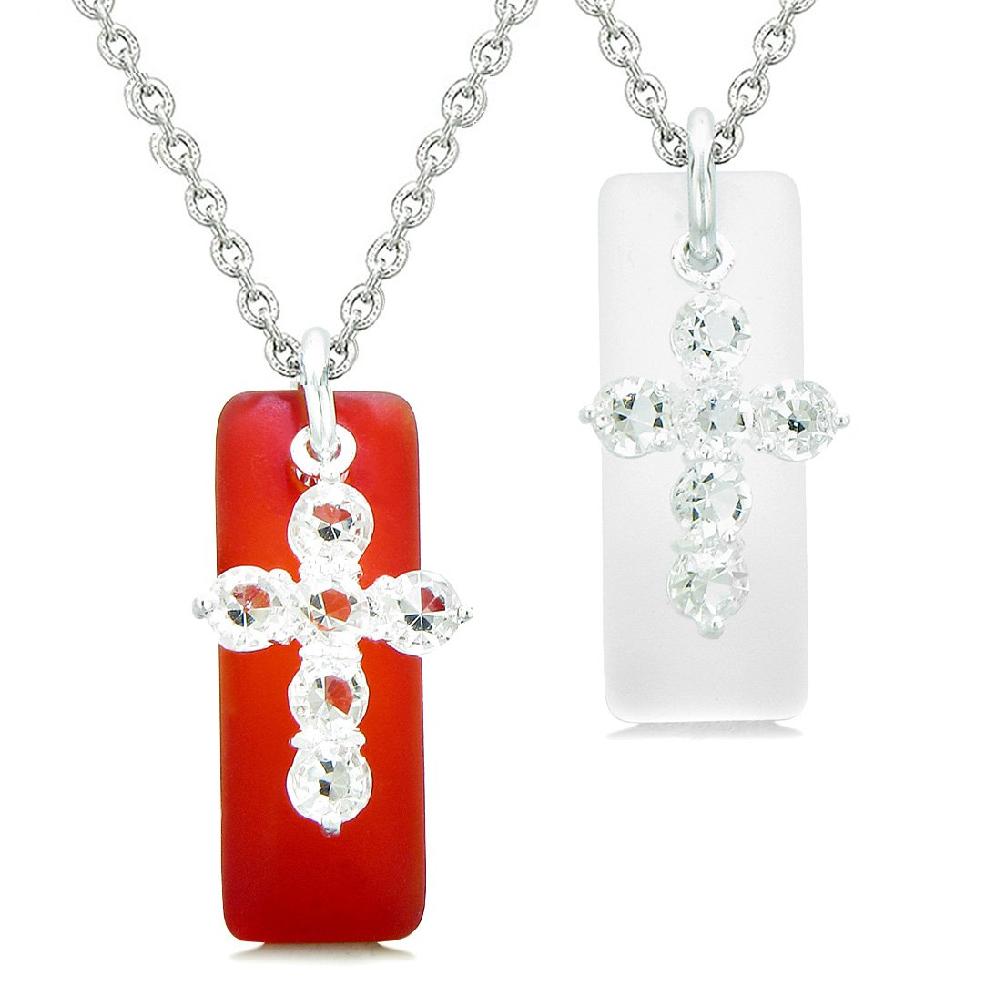 Sea Glass Royal Red and Mist White Tags Crystal Cross Love Couples BFF Set Protection Amulet Necklaces