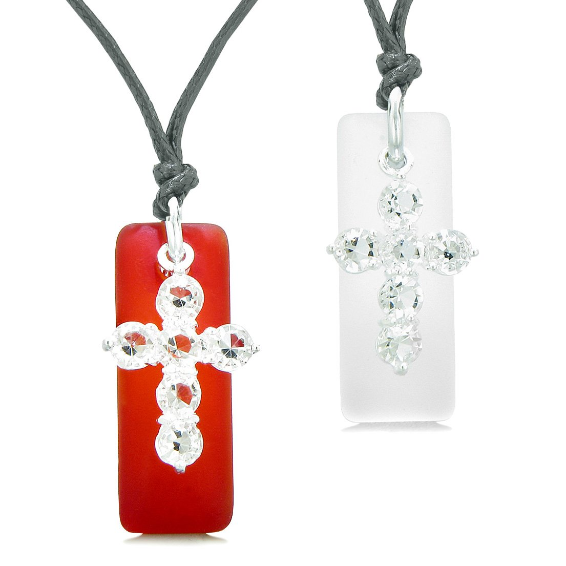 Sea Glass Mist White and Royal Red Tags Crystal Cross Love Couples BFF Set Protection Amulet Necklaces