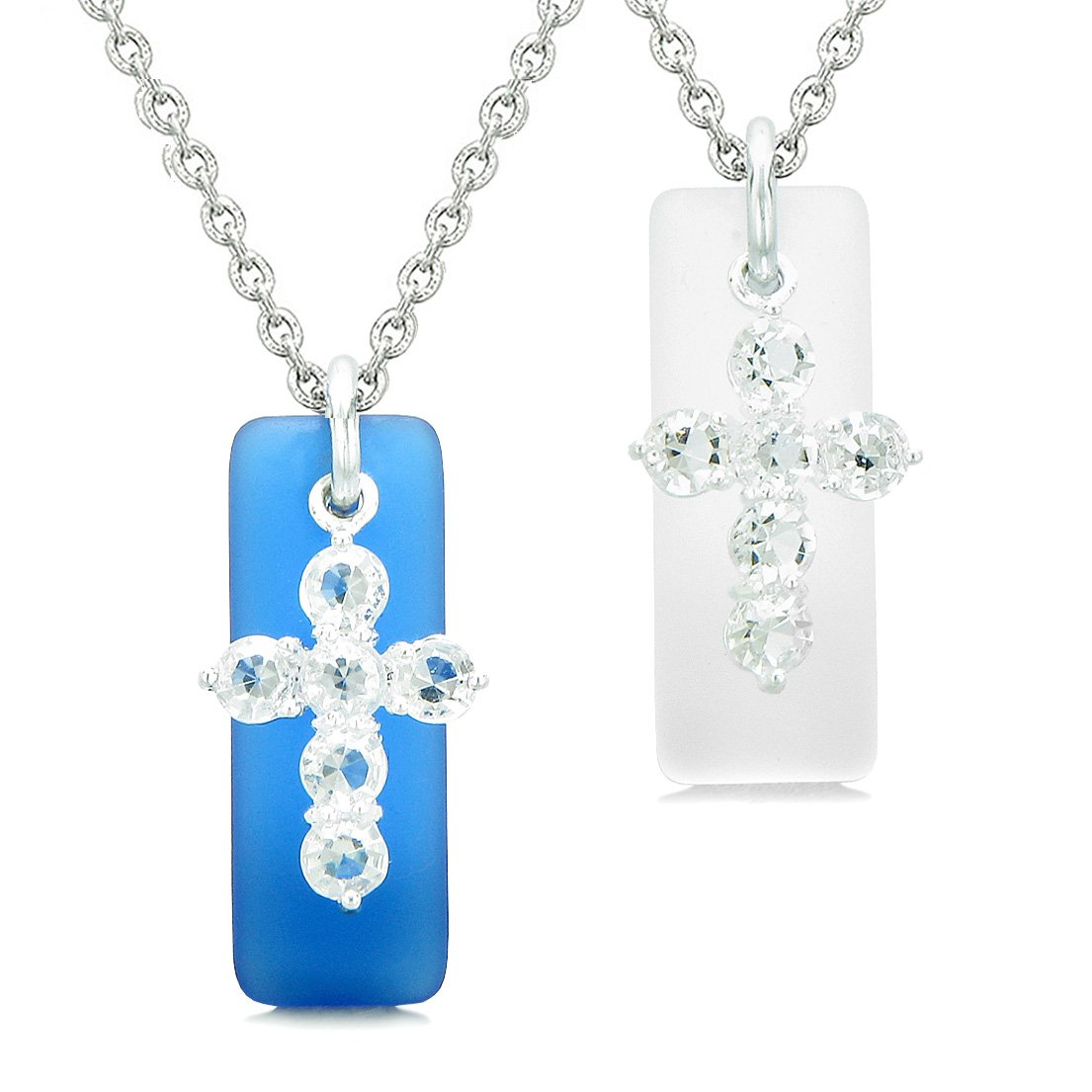 Sea Glass Ocean Blue and Mist White Tags Crystal Cross Love Couples BFF Set Protection Amulet Necklaces