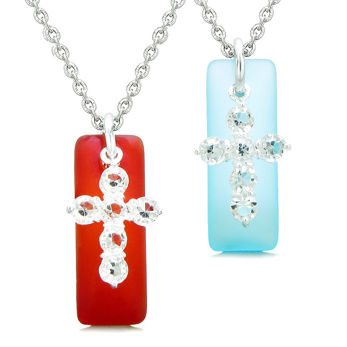 Sea Glass Sky Blue and Royal Red Tags Crystal Cross Love Couples BFF Set Protection Amulet Necklaces