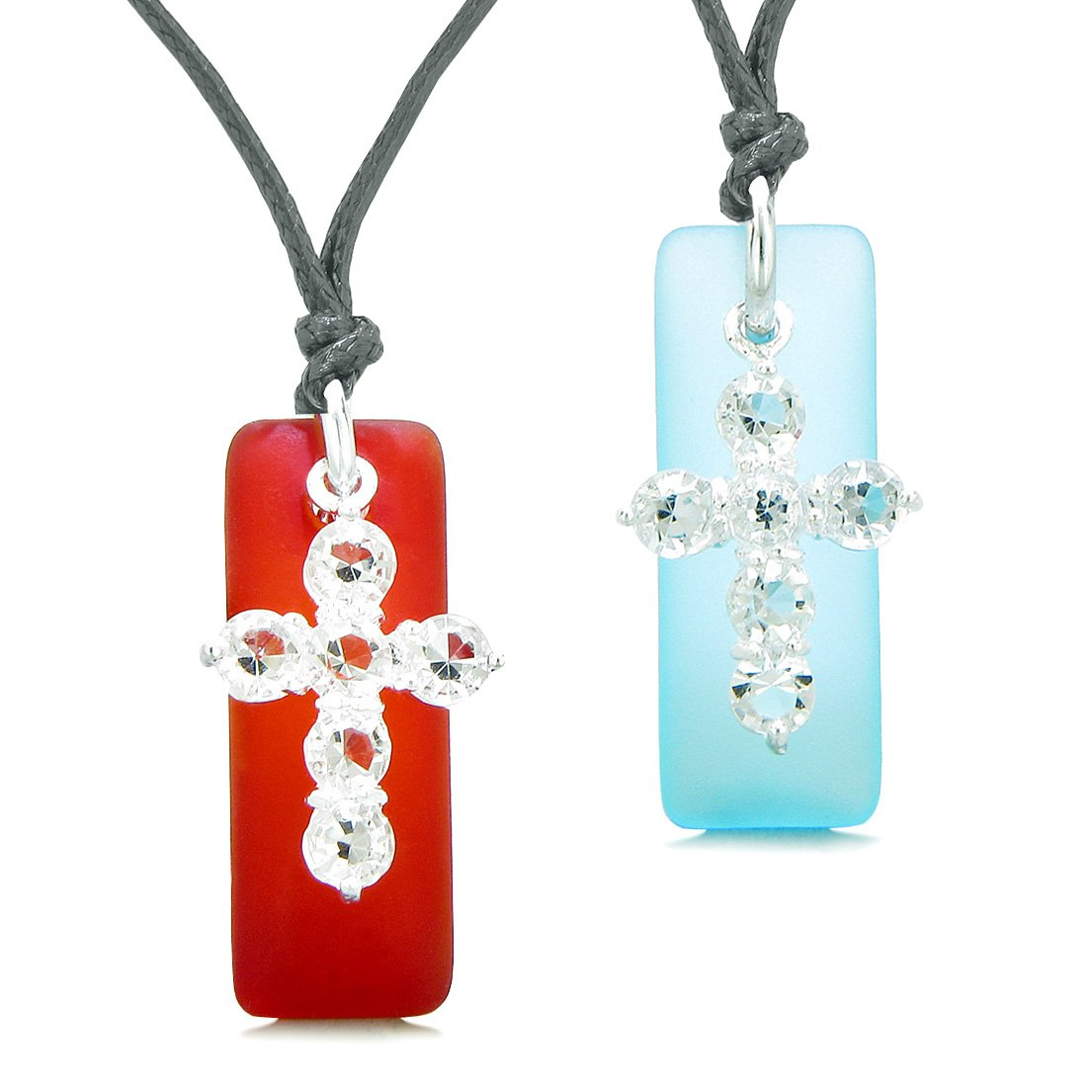 Sea Glass Royal Red and Sky Blue Tags Crystal Cross Love Couples BFF Set Protection Amulet Necklaces