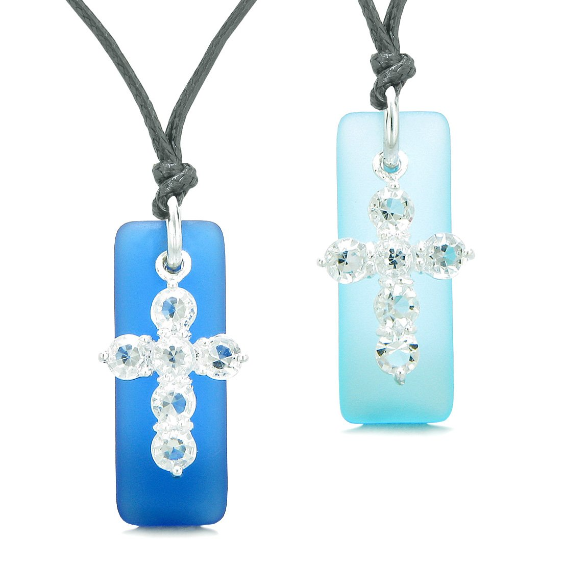 Sea Glass Sky and Ocean Blue Tags Crystal Cross Love Couples BFF Set Protection Amulet Necklaces