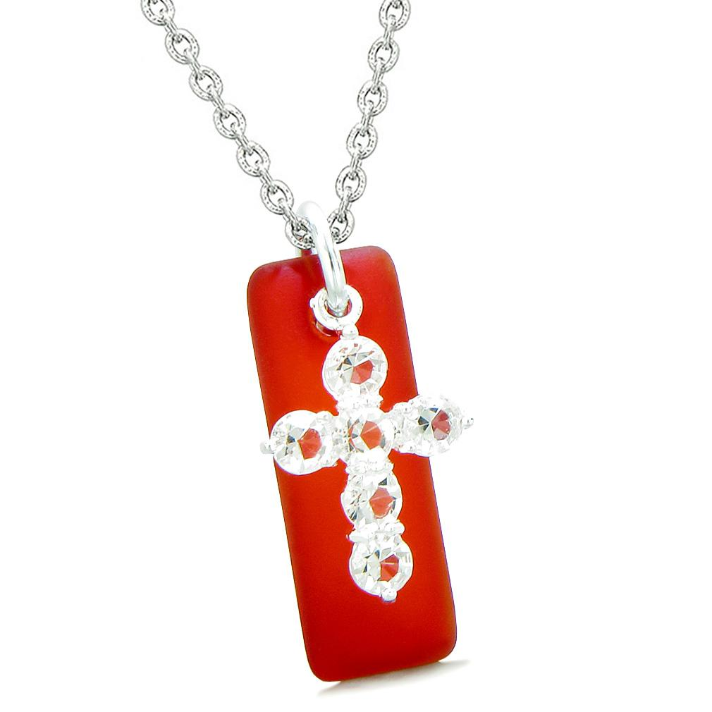 Sea Glass Royal Red Tag Adorable Crystal Cross Protection Positive Powers Amulet 18 Inch Necklace