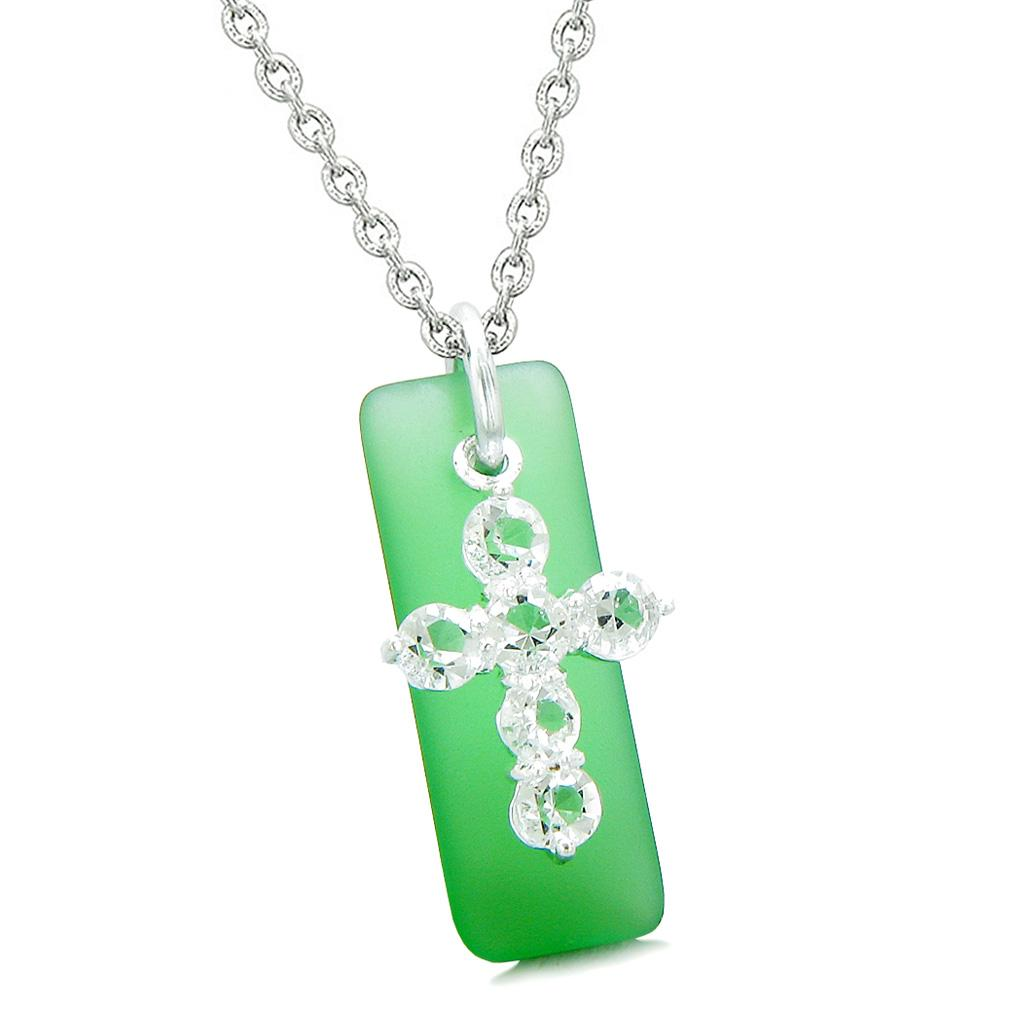 Sea Glass Ocean Green Tag Adorable Crystal Cross Protection Positive Powers Amulet 22 Inch Necklace