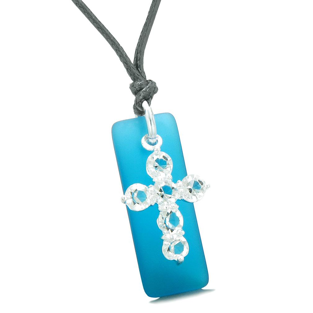 Sea Glass Cobalt Blue Tag Adorable Crystal Cross Protection Positive Powers Amulet Adjustable Necklace
